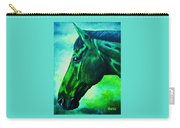 horse portrait PRINCETON blue green Carry-all Pouch