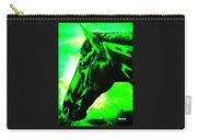 horse portrait PRINCETON green and black Carry-all Pouch