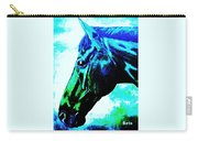horse portrait PRINCETON really blue Carry-all Pouch