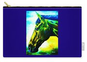 horse portrait PRINCETON vibrant yellow and blue Carry-all Pouch