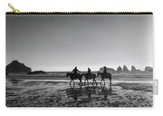 Horseback Storytelling Black And White Carry-all Pouch