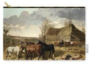 Horses Eating From A Manger, With Pigs And Chickens In A Farmyard Carry-all Pouch