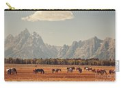 Horses Grazing In Front Of The Teton's Carry-all Pouch