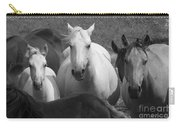 Horses In Black And White Carry-all Pouch