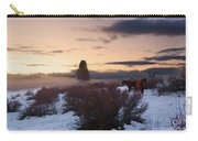 Horses In Snow At Sunset Carry-all Pouch