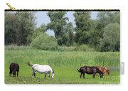 Horses On Pasture Nature Farm Scene Carry-all Pouch