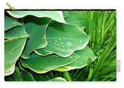 Hosta Leaves And Waterdrops Carry-all Pouch
