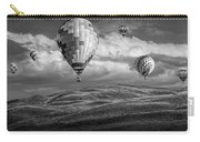 Hot Air Balloons In Black And White Over Fields Carry-all Pouch