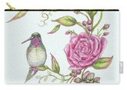 Hummingbird And Rose Carry-all Pouch