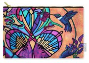 Hummingbird And Stained Glass Hearts Carry-all Pouch