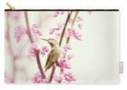 Hummingbird Perched Among Pink Blossoms Carry-all Pouch