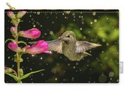 Hummingbird Visits Flowers In Raining Day Carry-all Pouch