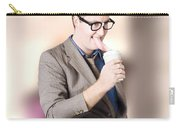 Humorous Businessman Licking Top Of Coffee Cup Carry-all Pouch