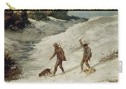 Hunters In The Snow Or The Poachers Carry-all Pouch by Gustave Courbet