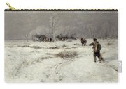 Hunting In The Snow Carry-all Pouch by Hugo Muhlig