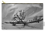 Hunting Island Beach And Driftwood Black And White Carry-all Pouch