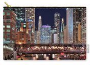Hustle And Bustle Night Lights In Chicago Carry-all Pouch