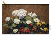 Hydrangeas And Wallflowers And Two Pots Of Pansies Carry-all Pouch