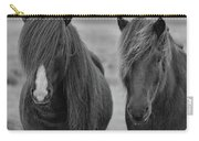 Icelandic Horses Duo Bw Carry-all Pouch