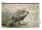 Iguana Eating Lettuce With His Tongue Sticking Out Carry-all Pouch