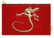 Iguana Skeleton In Gold On Red  Carry-all Pouch