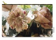 Impressionistic Green Peach Coral Floral Prints - Romantic Watercolor Peach Green Floral Decor Carry-all Pouch