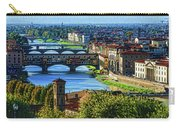 Impressions Of Florence - Long Blue Shadows On The Arno River Carry-all Pouch