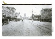 In This Historical 1913 Photo, Horse Drawn Carriages In Downtown Austin, Texas Run Up And Down Congress Avenue Cobblestone Streets Leading Up The The Texas State Capitol Carry-all Pouch
