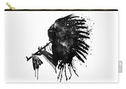 Indian With Headdress Black And White Silhouette Carry-all Pouch