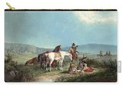 Indians Playing Cards Carry-all Pouch by John Mix Stanley