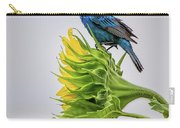 Indigo Bunting Sunflower Carry-all Pouch