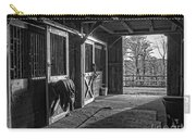 Inside The Horse Barn Black And White Carry-all Pouch
