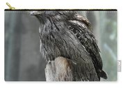 Interesting Tawny Frogmouth Perched On A Tree Stump Carry-all Pouch