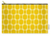 Interlocking Rectangular With Border In Mustard Carry-all Pouch