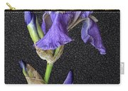 Iris On Black Leather Carry-all Pouch