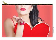 Isolated Pin Up Woman Holding A Heart Shaped Sign Carry-all Pouch