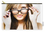 Isolated Sexy Girl Wearing Glasses On White Carry-all Pouch