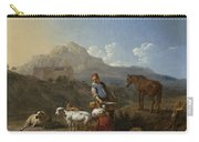 Italian Landscape With Girl Milking A Goat Carry-all Pouch