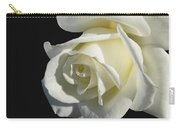 Ivory Rose Flower On Black Carry-all Pouch