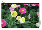 Ivory Tulips And Salmon Daisys Carry-all Pouch
