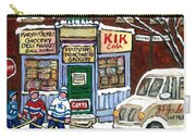 J J Joubert Vintage Milk Truck At Marvin's Grocery Montreal Memories Street Hockey Best Hockey Art Carry-all Pouch
