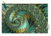 Jade And Yellow Fractal Spiral Carry-all Pouch