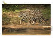 Jaguar Walking Beside River In Dappled Sunlight Carry-all Pouch