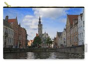 Jan Van Eyck Square With The Poortersloge From The Canal In Bruges Carry-all Pouch