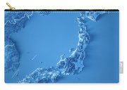 Japan 3d Render Topographic Map Blue Border Carry-all Pouch
