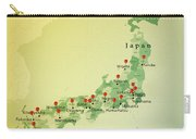 Japan Map Square Cities Straight Pin Vintage Carry-all Pouch