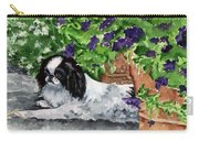 Japanese Chin Puppy And Petunias Carry-all Pouch