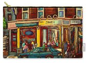 Java U Coffee Shop Montreal Painting By Streetscene Specialist Artist Carole Spandau Carry-all Pouch