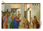Jesus Opens The Eyes Of A Man Born Blind Carry-all Pouch by Duccio di Buoninsegna