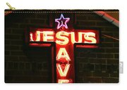 Jesus Saves In Neon Lights Carry-all Pouch